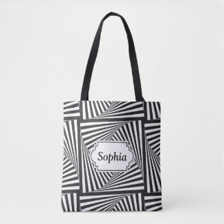 Beautiful Black white spiral optical illusion Tote Bag