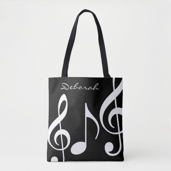 beautiful black/white tote-bag with musical notes tote bag