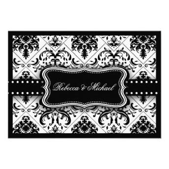Beautiful Black & White Vintage Damask RSVP Cards