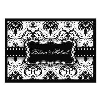 Beautiful Black White Vintage Damask RSVP Cards