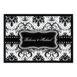 "Beautiful Black & White Vintage Damask RSVP Cards 3.5"" X 5"" Invitation Card"