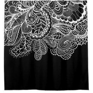 Beautiful Black WhiteVintage Lace Shower Curtain