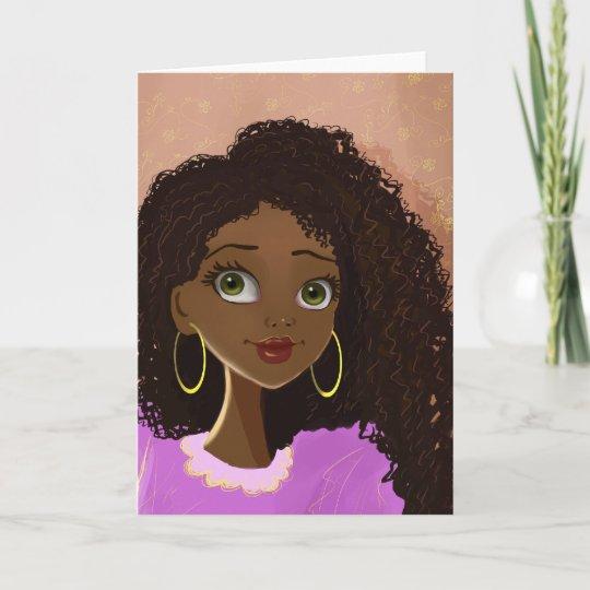 beautiful black woman greeting card  zazzle