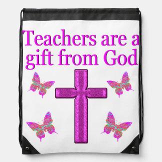 BEAUTIFUL BLESSED TEACHER DESIGN DRAWSTRING BACKPACK