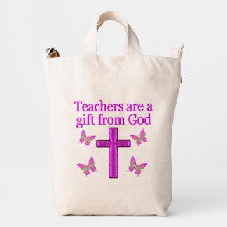 BEAUTIFUL BLESSED TEACHER DESIGN DUCK BAG