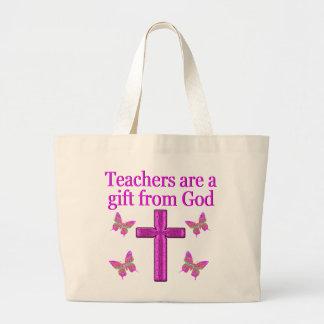BEAUTIFUL BLESSED TEACHER DESIGN LARGE TOTE BAG