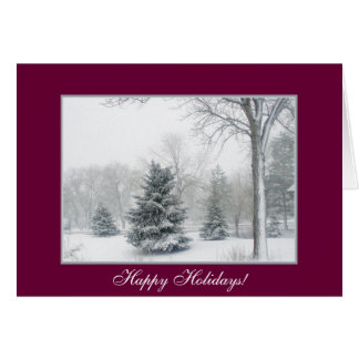 Beautiful Blizzard with Maroon Border Greeting Cards
