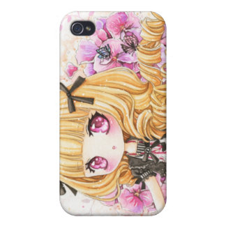 Beautiful blond anime girl with pink poppies cases for iPhone 4