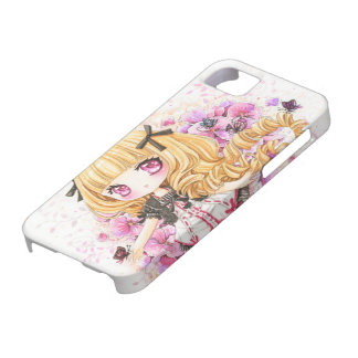 Beautiful blond anime girl with pink poppies iPhone SE/5/5s case