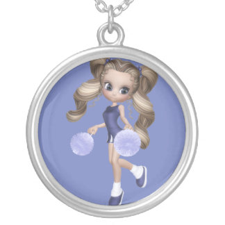 Beautiful Blond Cheerleader Silver Necklace