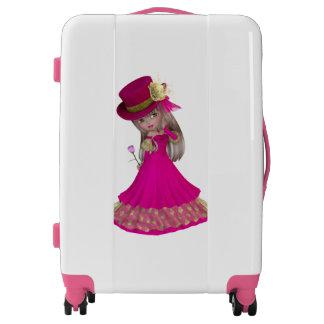 Beautiful Blond Girl Medium Sized Luggage Suitcase