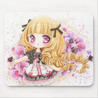 Beautiful blond girl with pink poppies mouse pad