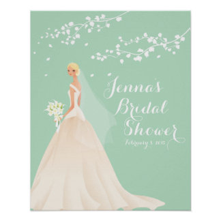 Beautiful Blonde Bride Bridal Shower Poster
