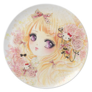 Beautiful blonde girl with roses plate