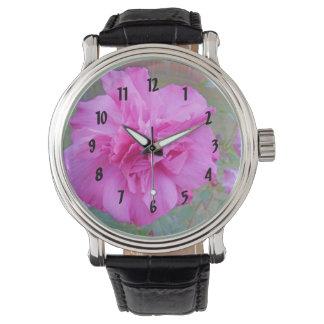 Beautiful Blooming Fuschia Rose Wristwatch