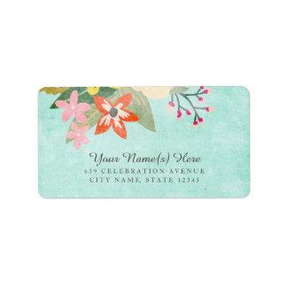 Beautiful Blooms Address Labels / Aqua