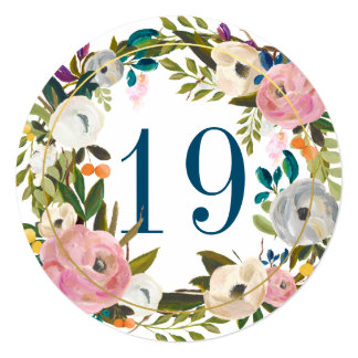 Beautiful Blooms Floral Circle Table Number Card