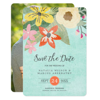 Beautiful Blooms Photo Save the Date Card