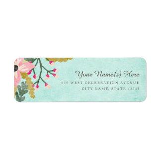 Beautiful Blooms Return Address Label / Aqua