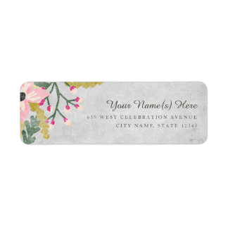 Beautiful Blooms Return Address Label / Gray