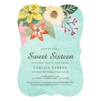 Beautiful Blooms Sweet Sixteen Birthday Invitation