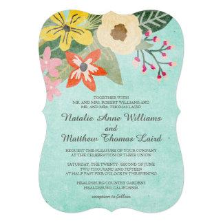 Beautiful Blooms Wedding Invitation Aqua