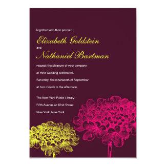 Beautiful Blooms Wedding Invitation in Dark Pink