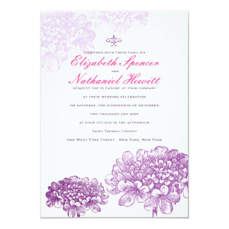 Beautiful Blooms Wedding Invitation Purple & Pink