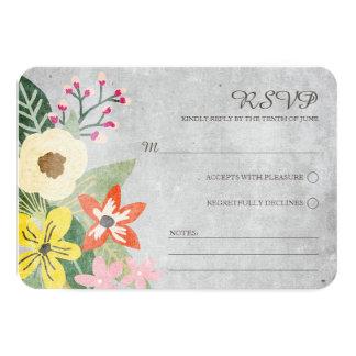 Beautiful Blooms Wedding RSVP Card / Gray