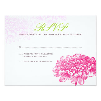 Beautiful Blooms Wedding RSVP in Pink & Green Card