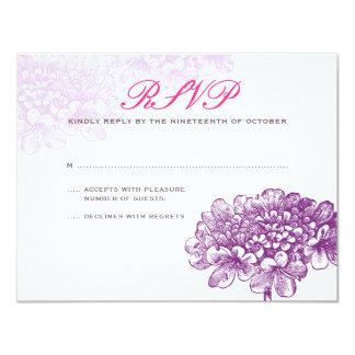 "Beautiful Blooms Wedding RSVP Purple & Pink 4.25"" X 5.5"" Invitation Card"