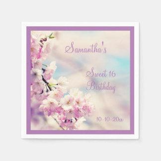 Beautiful Blossom Sweet Sixteen Birthday Paper Napkin