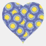 Beautiful Blossoms Heart Shaped Sticker - Blue