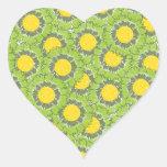 Beautiful Blossoms Heart Shaped Sticker - Green