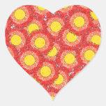 Beautiful Blossoms Heart Shaped Sticker - Multi