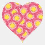 Beautiful Blossoms Heart Shaped Sticker - Pink
