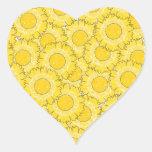 Beautiful Blossoms Heart Shaped Sticker - Yellow