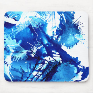 Beautiful Blue Acrylic inks Abstract Art Design Mouse Pad