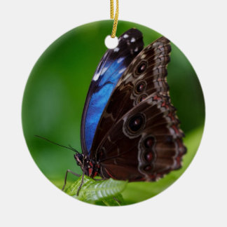 Beautiful Blue and Black Butterfly Double-Sided Ceramic Round Christmas Ornament