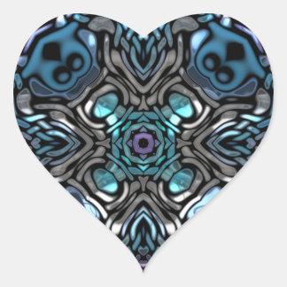 Beautiful Blue and Black Inlay Design Heart Sticker