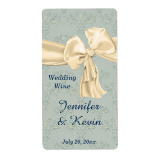 Beautiful Blue and Cream Wedding Wine Label Shipping Label