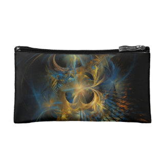 Beautiful Blue And Gold Fractal Cosmetic Bags
