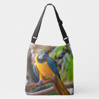 Beautiful Blue and Gold Macaw Crossbody Bag