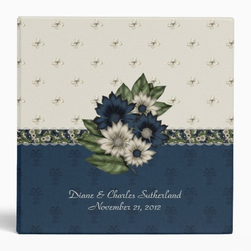 Beautiful Blue and Ivory Floral Wedding Binder