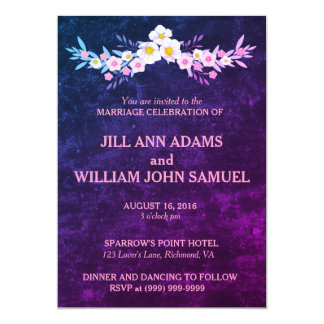 Beautiful Blue and Purple Wedding Card