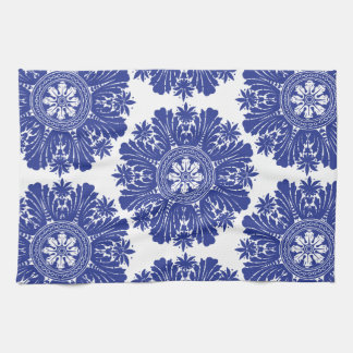 Beautiful Blue and White Baroque Pattern Hand Towel