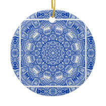Beautiful Blue and White Mandala Tile Pattern Ceramic Ornament