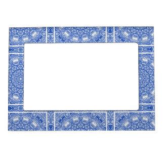 Beautiful Blue and White Mandala Tile Pattern Magnetic Frame