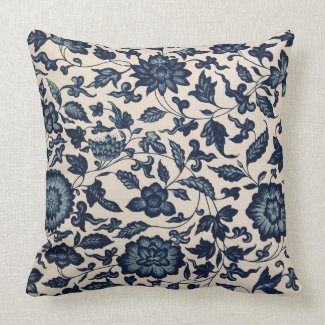 Beautiful Blue Asian Floral Pillow