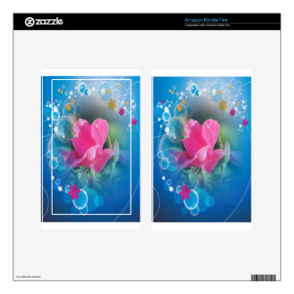 Beautiful Blue Background  Pink Rose Multi Product Decals For Kindle Fire